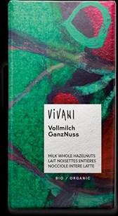 Čokolada Vivani mlečna s celimi lešniki 100 g