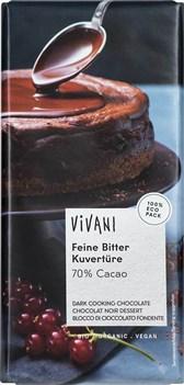 BIO temna čokolada kuvertura Vivani 200g