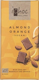 BIO riževa čokolada mandelj pomaranča iChoc 80g