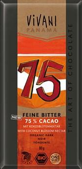 Čokolada temna s 75% kakava Vivani 80 g