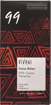 BIO temna čokolada z 99% kakava Vivani 80g