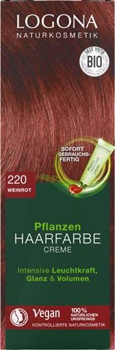 BIO barva za lase krema vinsko bordeaux rdeča Logona 150ml