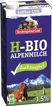BIO trajno mleko brez laktoze Berchtesgadener Land 1l