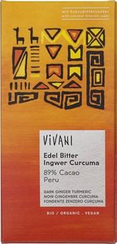 BIO temna čokolada 89% ingver kurkuma Vivani 80g