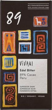 BIO temna čokolada 89% s sladkorjem iz kok.cvetov Vivani 80g