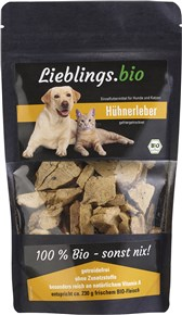 Bio liofilizirana kokošja jetra lieblings za pse in muce